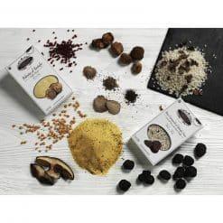 Pâtes aux truffes blanches et noires, riz à la truffe, polenta, gnocchi
